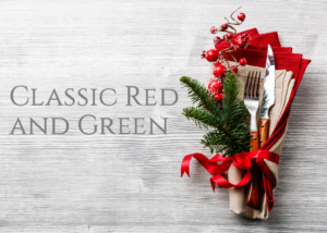 classic red and green holiday table settings