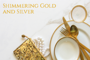 gold and silver holiday table settings