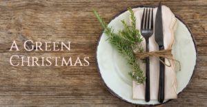 green christmas holiday table settings